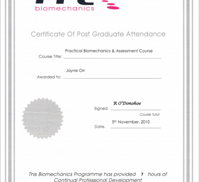 Post graduate certificate awarded to Jayne Orr for passing the Practical Biomechanics and Assessment Course by PPL Biomechanics