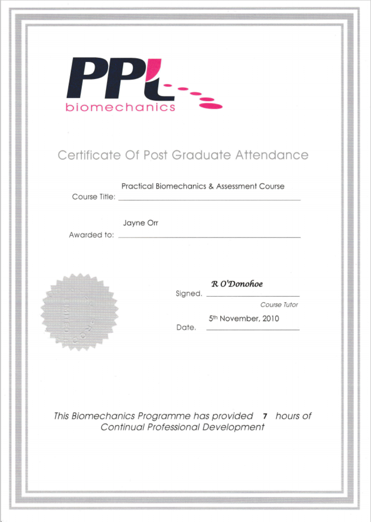 Practical Biomechanics & Assessment Course Certificate