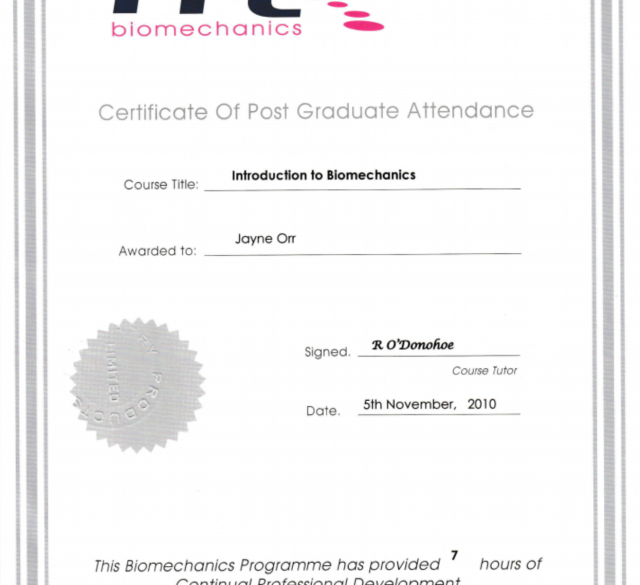 Post graduate certificate awarded to Jayne Orr for passing the Introduction to Biomechanics by PPL Biomechanics