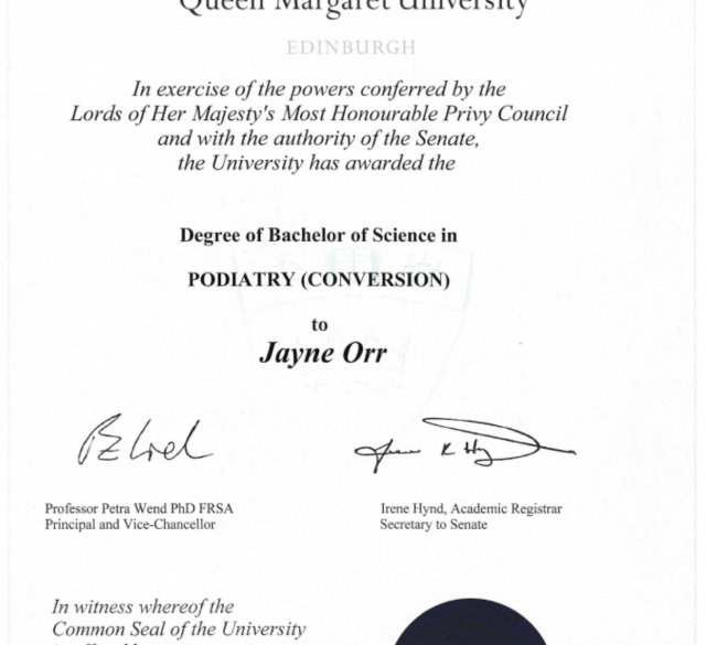 Bachelors degree in Podiatry awarded to Jayne Orr by Queen Margaret University